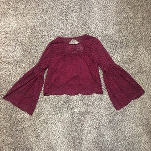 Xhilaration Burgandy Crop Top with Bell Sleeve
